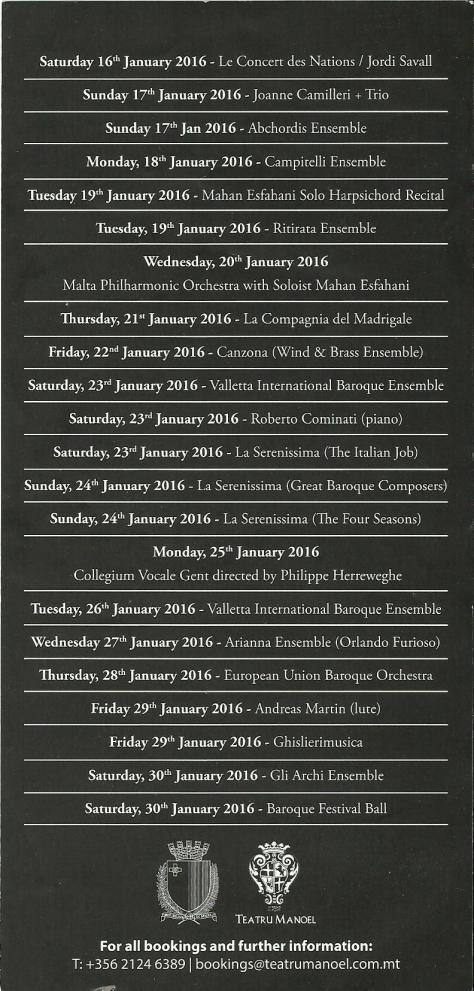 Valletta International Baroque Festival 2016 programme